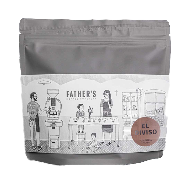 A bag of specialty coffee beans from El Diviso farm in Colombia roasted by Father's Coffee
