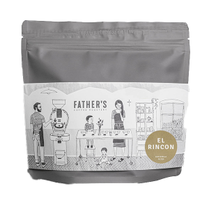 A bag of specialty coffee beans from El Rincon farm in Guatemala roasted by Father's Coffee