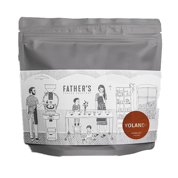 A bag of specialty coffee beans from Yolanda farm in Honduras roasted by Father's Coffee