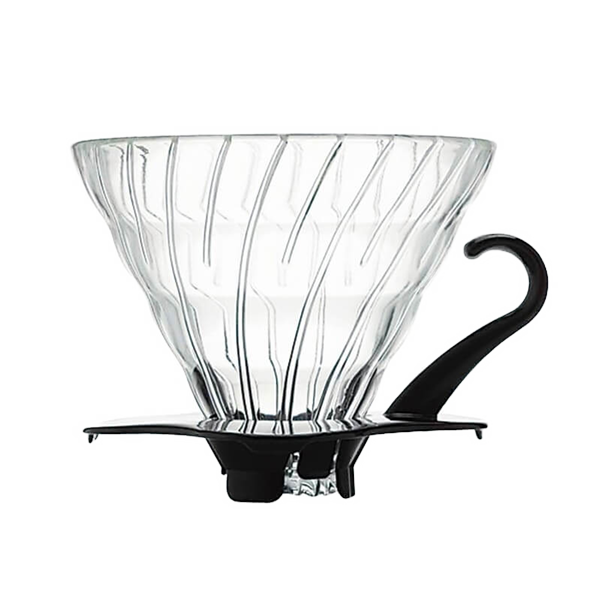 Hario V60 glass drip brewer with black handle