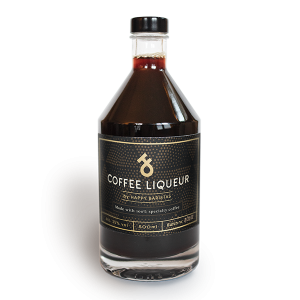 A bottle of Happy Baristas Coffee Liqueur